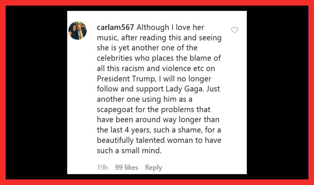 Lady Gaga calls Trump a racist. People counter the statement.