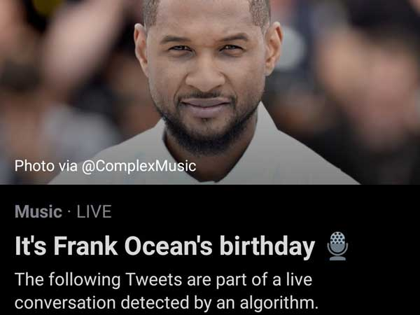 Twitter mistakes Frank Ocean for Usher as he trends on his 33rd birthday.